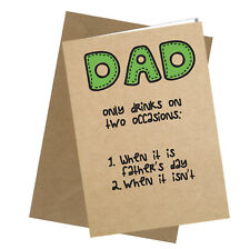 Greetings Card Dad only Drinks Comedy Rude Funny Humour Fathers Day Dad #193