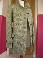 Ladies AQUASCUTUM TWEED WOOL COAT JACKET UK 16 18 100% pure new wool green cream