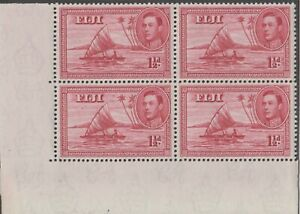 Stamps 1940 Fiji 1&1/2d red KGV1 SG252 bottom left hand corner block of 4, MUH