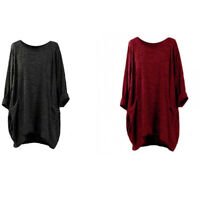 Asymmetrical Batwing Shirt Casual Sleeve Solid Jumper Jumper Loose Tops Women's