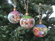 Set of 3 Jim Shore Disney Ornaments Mickey/Minnie Donald Pluto Round Hanging New
