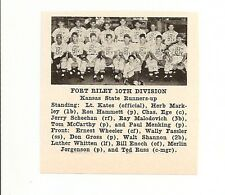 Fort Riley 10th Division Kansas 1953 Baseball Team Picture