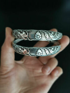 Chinese old Tibet silver Carving dragon and phoenix bracelet