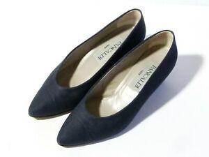 Vintage Pancaldi Ladies Court Shoes Leather & Navy Linen Fabric size 5