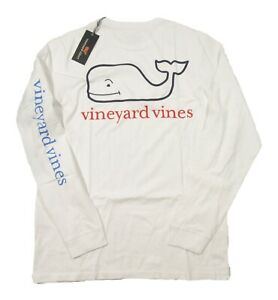 Vineyard Vines Men's White Tri Color Whale Graphic Long Sleeve Pocket T-Shirt