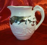 "Silver Wedgewood of Etruria & Barlaston Numbered  4"" Creamer Pitcher Horses Dogs"