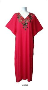 Ladies  35% cotton 65% polyester embroidery Long Kaftan/dresses / beach UK 10-32