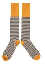 Men's Catherine Tough Knee High Striped Wool Socks, Size 8-11