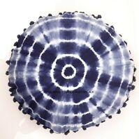 Indigo Blue Cushion Pillow Cover Round Tie Dye Shibori Mandala Pillow Case Sham