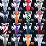 Classic Mens Silk Tie Necktie Set  Blue Black Red Solid Plain Stirped Wedding