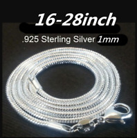 """Women 10Pcs/Set 1mm 925 Solid Silver Snake Chains For Pendant Necklace 16-28"""""""