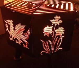 Wales Welsh theme hexagonal fire pit with grill black painted