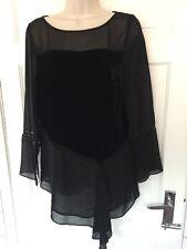 MINT VELVET Tunic Top Asymmetrical Black Velvet Cut Out 12 BNWOT