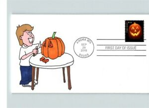 JACK 'O LANTERN, Hand Painted Boy Carving PUMPKIN, # 1 of 1, 2016 FDC