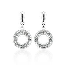 LADIES CIRCLE CZ MICRO PAVE EARRINGS SILVER STUDS MADE WITH SWAROVSKI CRYSTALS