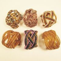 6 PC Handmade Bali Beaded Purple Gold Color Braided Cuff Bracelet WHOLESALE LOT