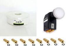 Koax Kabel 100m + Octo LNB HD75 BEST + 8x F-Stecker Vergoldet SET 4K Full HD
