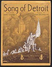 Song of Detroit 1930 Sheet Music