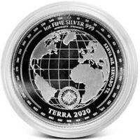 2020 Tokelau Terra World Map Proof 1 oz Silver .999 Fine BU Coin New In Capsule!