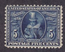 US 330 Mint OG 1907 5¢ Blue Pocahontas JAMESTOWN EXPO Issue Scv $125.00