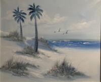 ORIGINAL OIL PAINTING Beach Landscape Blue Tones Palm Trees Signed Mortan