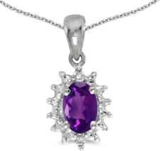 14k White Gold Oval Amethyst and Diamond Pendant (no chain) (CM-P1342XW-02)