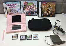 NINTENDO DS LITE HANDHELD CONSOLE SYSTEM BUNDLE- PINK +7GAMES ,CASE & CORD