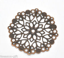 30 Copper Tone Filigree Flower Wraps Connectors 50mm