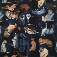 """Vintage Retro Cats Kittens Silky & Sheer Striped Oblong Scarf 58"""" x 13½"""" Navy"""