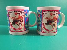 "(2)1994 The Saturday Evening Post ""Merry Christmas"" Coffee Mugs- Holiday Delites"