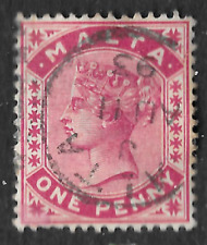 ANTIQUE STAMP Queen Victoria One Penny - posted 11th August 1893 Malta