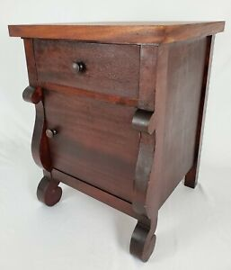 Antique Empire Nightstand Storage Cabinet End Table Flame Mahogany Vintage