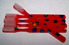Set of 5 ALAN STUART Rare Vintage Toothbrushes - RED with STARS - NOS!