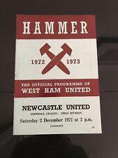 PROGRAMME; WEST HAM UNITED V NEWCASTLE UNITED, DIVISION ONE, 2ND DECEMBER 1972