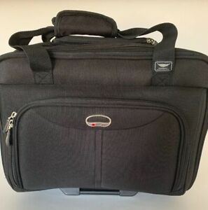 """Delsey Luggage Rolling Suitcase Travel  Briefcase Black Mobile Office 17"""" x 13"""""""