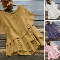 ZANZEA Women Cotton Crew Neck Summer Tops Baggy Casual Shirt Blouse Tee T-Shirt