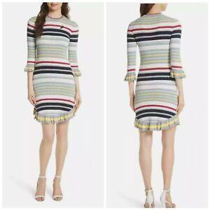 Ted Baker London Irettee Striped Sweater Ruffle Dress Size 3 (Medium)