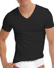 Emporio Armani Men's Cotton Stretch V-Neck Tee, Black, Medium