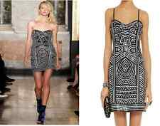 EMILIO PUCCI-£3835-UK 6-8 BLACK-WHITE STRETCH LEATHER DRESS-SHORT-RUNWAY SS 2014