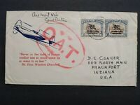 Kenya Tanganyika Uganda: 1945 Patriotic Large Circled Red OAT Cover to the USA