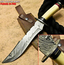 SFK Hand Forged Damascus Steel Camel Bone Hunting Bowie Knife