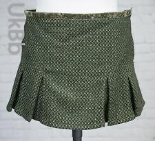 Topshop Short Green Tweed Skirt Size 10 Pelmet Pleated Flippy Hem Micro Mini