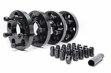 4 Honda Acura Black 5x114.3 Hub Centric Wheel Spacers 20mm w/ Black Lug Nuts