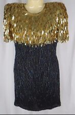 Vintage 1980's PS Laurence Kazar New York Gold Fringe Sequins Beads Dress