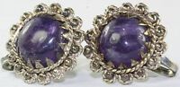 VTG TAXCO MEXICAN 980 STERLING SILVER AMETHYST EARRINGS MEXICO