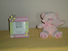 Baby Girl Carriage Picture Frame and Plush Pink Bear Set
