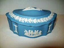 Wedgwood Jasperware Medium Oval Scalloped Box, Cherubs, Mint