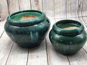 """African Violet Self Watering Lot of 2 Blue Green Pot """"The Violet Pot"""" SM/Med"""