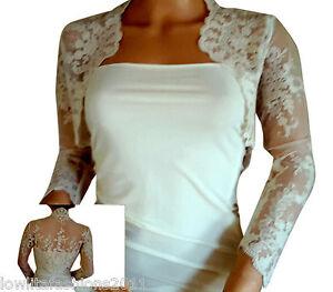 Ladies antique Ivory Lace wedding Lace Bolero, Jacket , Shrug by  8-18 UK