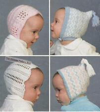 BABY BONNETS birth to 4 months - 8ply or D.K. & 4ply - COPY knitting pattern